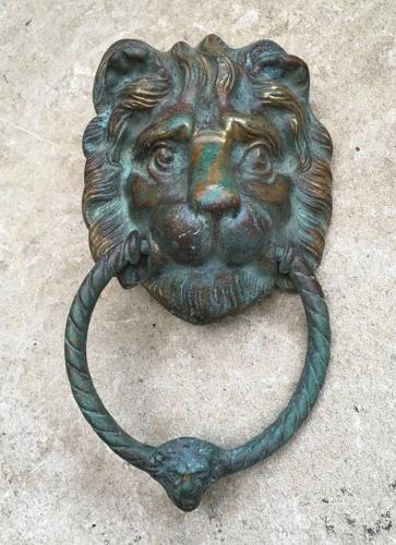 Superb Victorian Lion Door Knocker with Verdigris