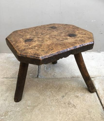 Victorian Burr Elm Country Stool