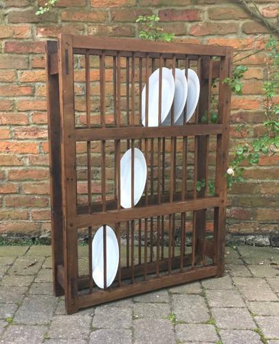 Large Early Victorian Pine Three Tier Plate Rack
