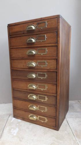 Late Victorian Pine Flight of Nine Drawers