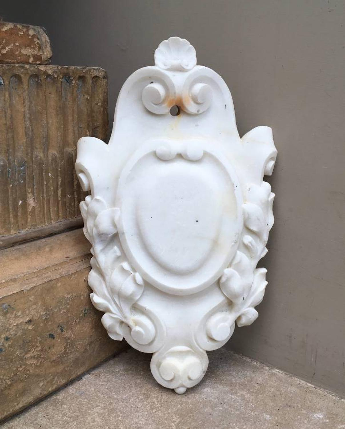 Victorian Carved Marble Cartouche