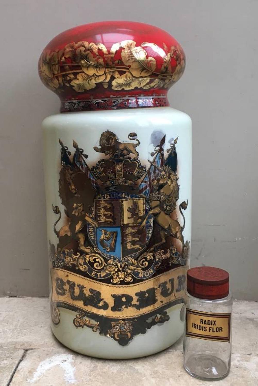 Huge Victorian Chemists Display Jar with its Original Lid