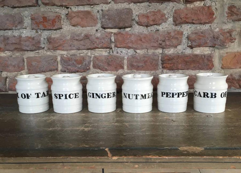 Edwardian Rare Set of Six Minton White Banded Spice Jars
