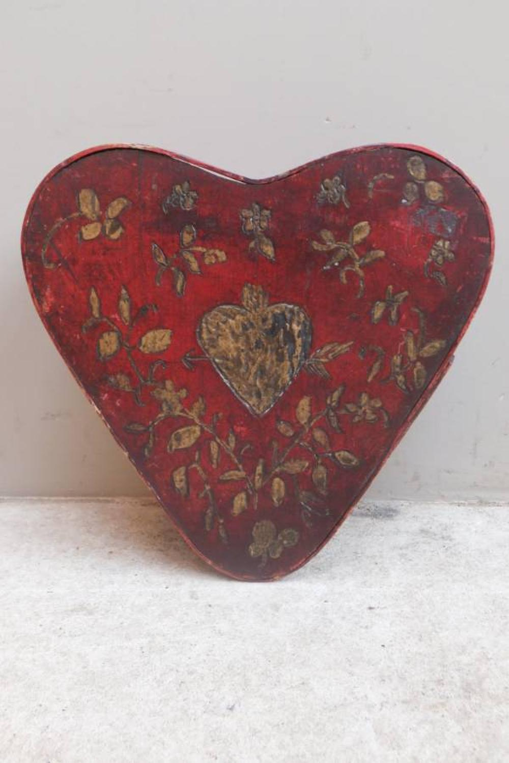 Antique Painted Bentwood Box - Hearts - Perfect present box