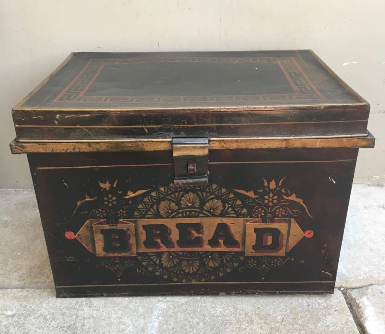 Large & Rare Victorian Toleware Bread Tin