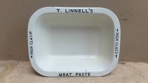 Early 20thC Butchers Enamel Advertising Plate - T. Linnells Meat Paste
