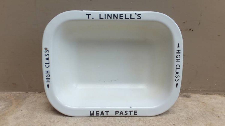 Early 20thC Butchers Enamel Advertising Plate - T. Linnells Meat Paste