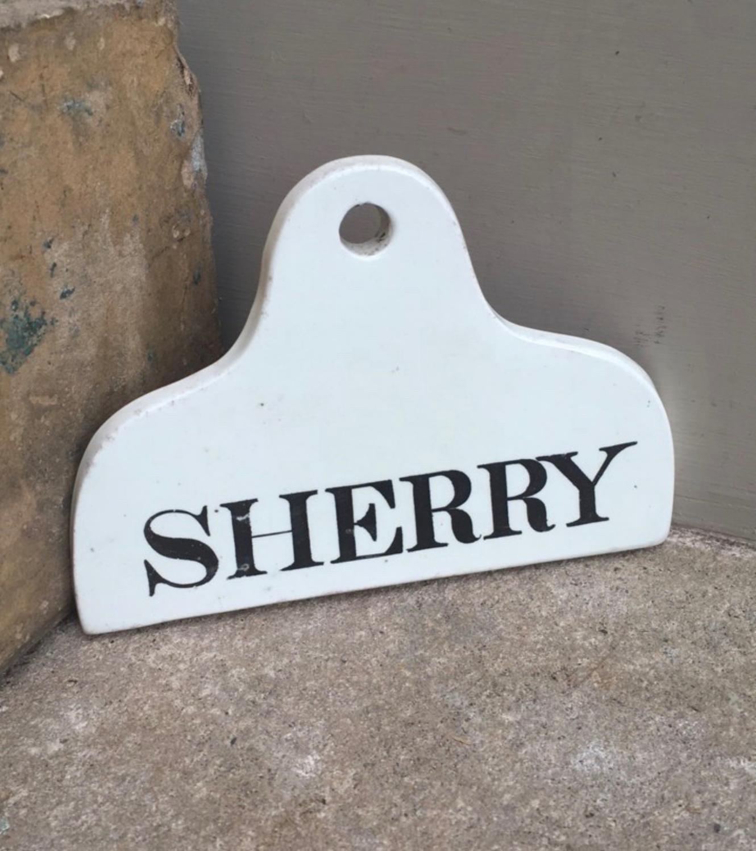 Victorian White Ceramic Cellar Label - Sherry