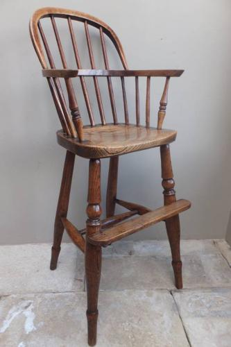 Superb Mid Victorian Elm Hooped Back Childs High Chair
