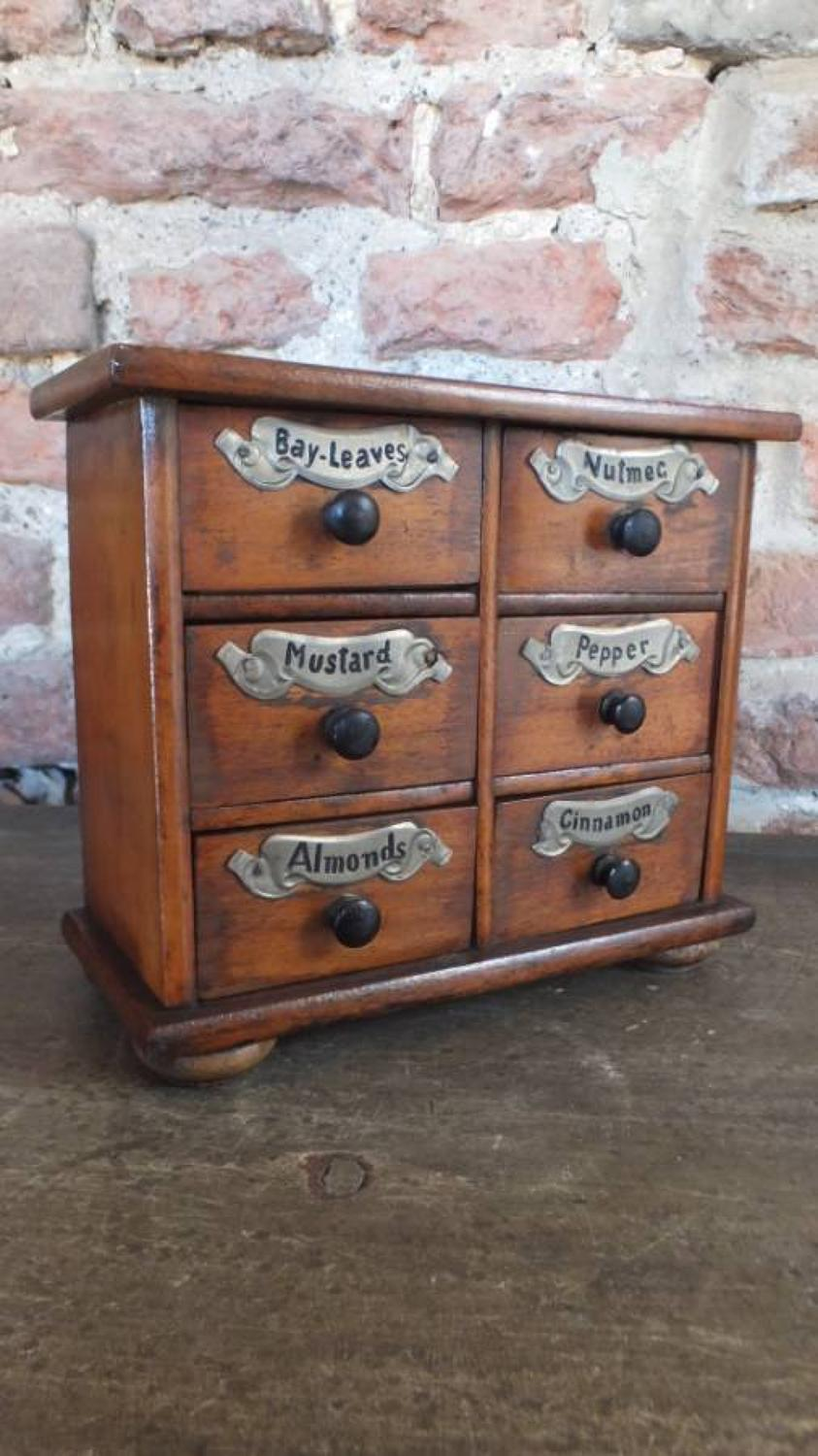 Victorian Spice Chest of Six Drawers - Superb Example