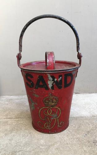 George V Fire Bucket for Sand with Original Lid