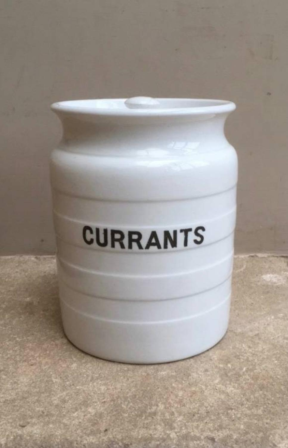 Early 20th Century White Banded Kitchen Storage Jar - Currants