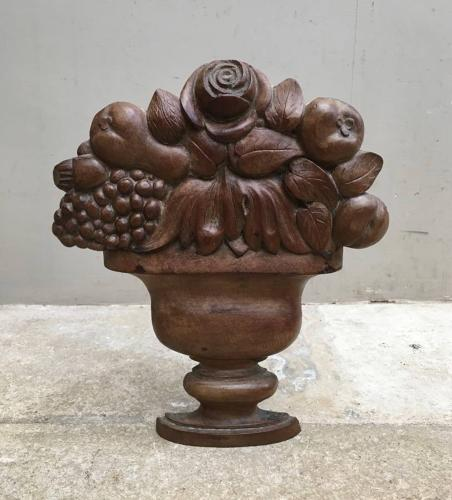 Victorian Freestanding Carved Treen Urn with Flowers & Fruit