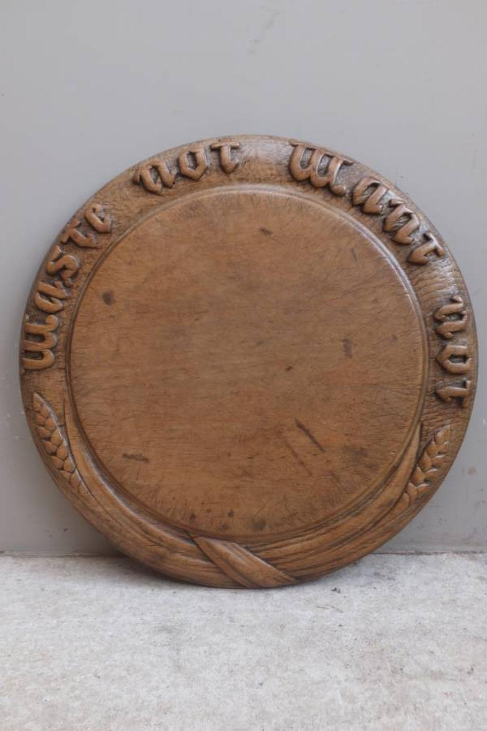 Superb Victorian Deeply Carved Bread Board - Waste Not Want Not