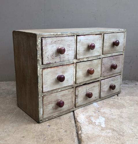Antique Pine Bank of Nine Drawers - Original Paint