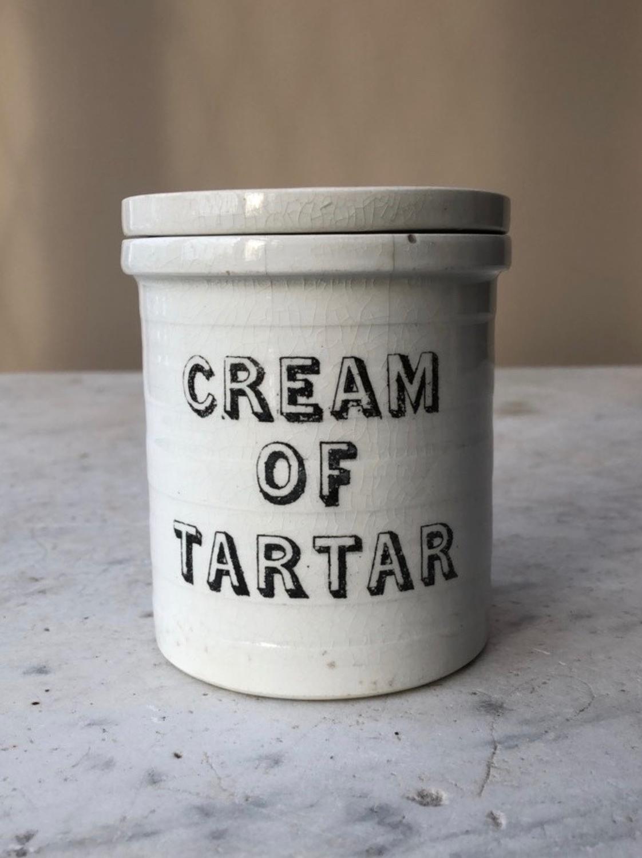 Edwardian White Banded Kitchen Storage Jar - Cream of Tartar