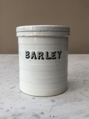 Victorian White Banded Kitchen Storage Jar - Barley