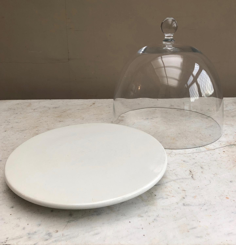 Edwardian White Ironstone Cheese Pedestal  - Dome Optional