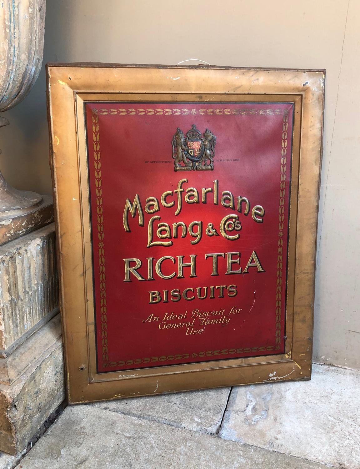 1930s Tin Advertising Sign - Macfarlane Lang & Co Biscuits