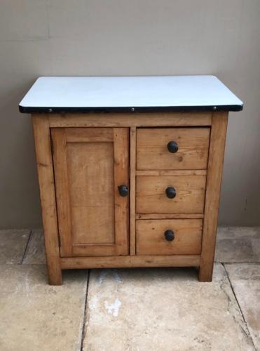 1930s Pine Kitchen Cupboard with Original White Enamel Top