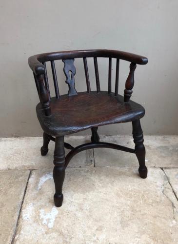 Victorian Elm Childs Chair with Crinoline Stretcher