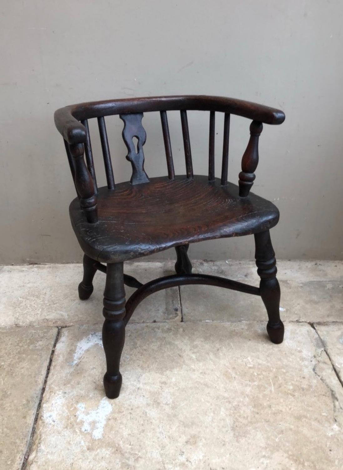 Victorian Elm Childs Chair with Crinoline Stretcher
