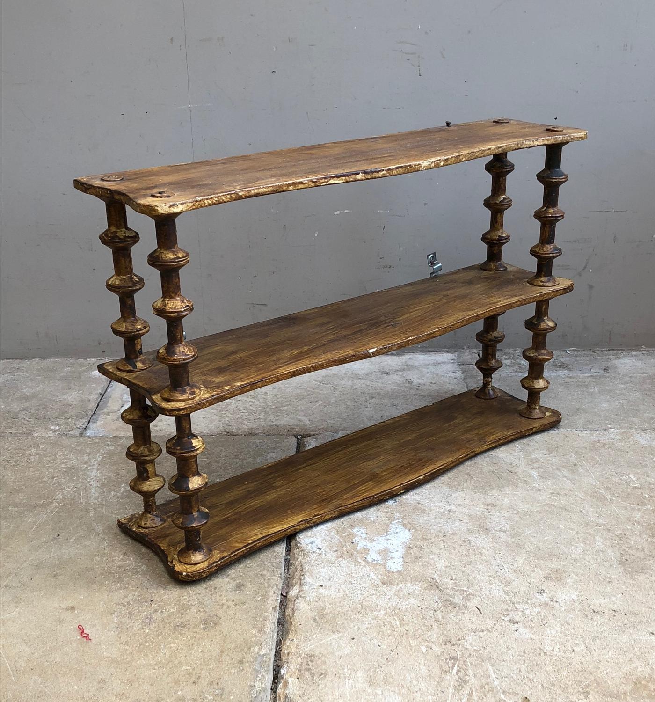 Antique Pine Cotton Reel Shelves in Original Paint