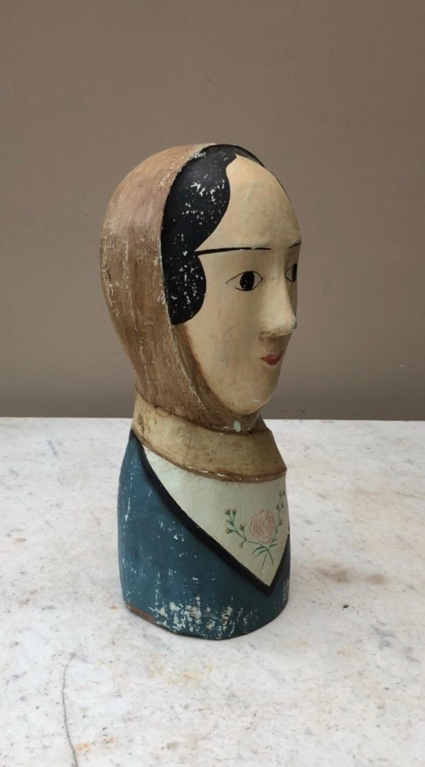1940s Papier Mache French Marrotte - Miliners Head
