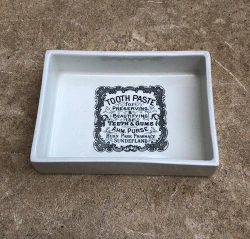 Early 20th Century White Ironstone Advertising Dish - Toothpaste