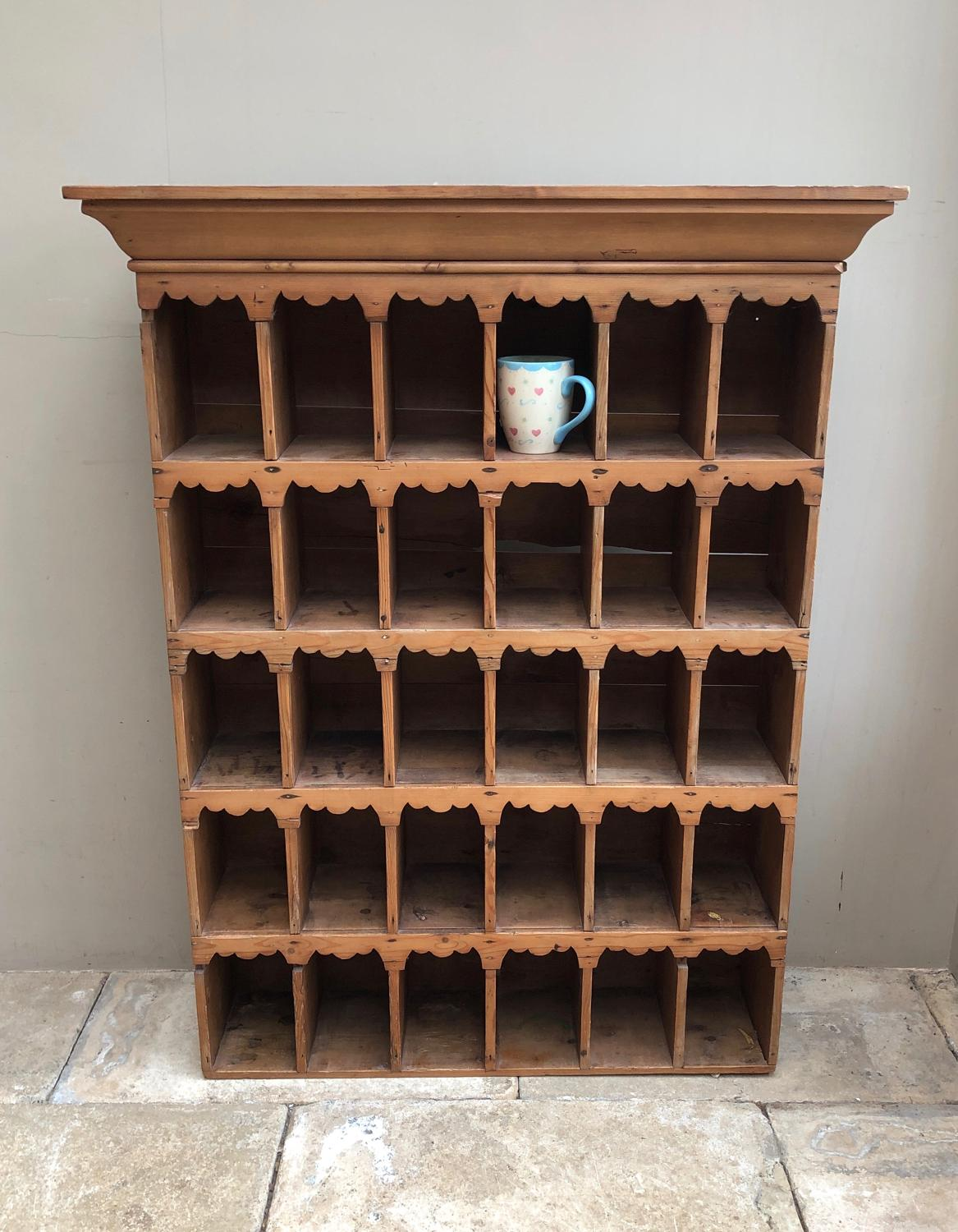 Victorian Pine Pigeon Holes with Decorative Shaped Tops