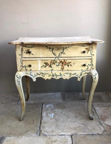 1920s Painted Pine Two Drawer Side Table Console with Cabriole Legs