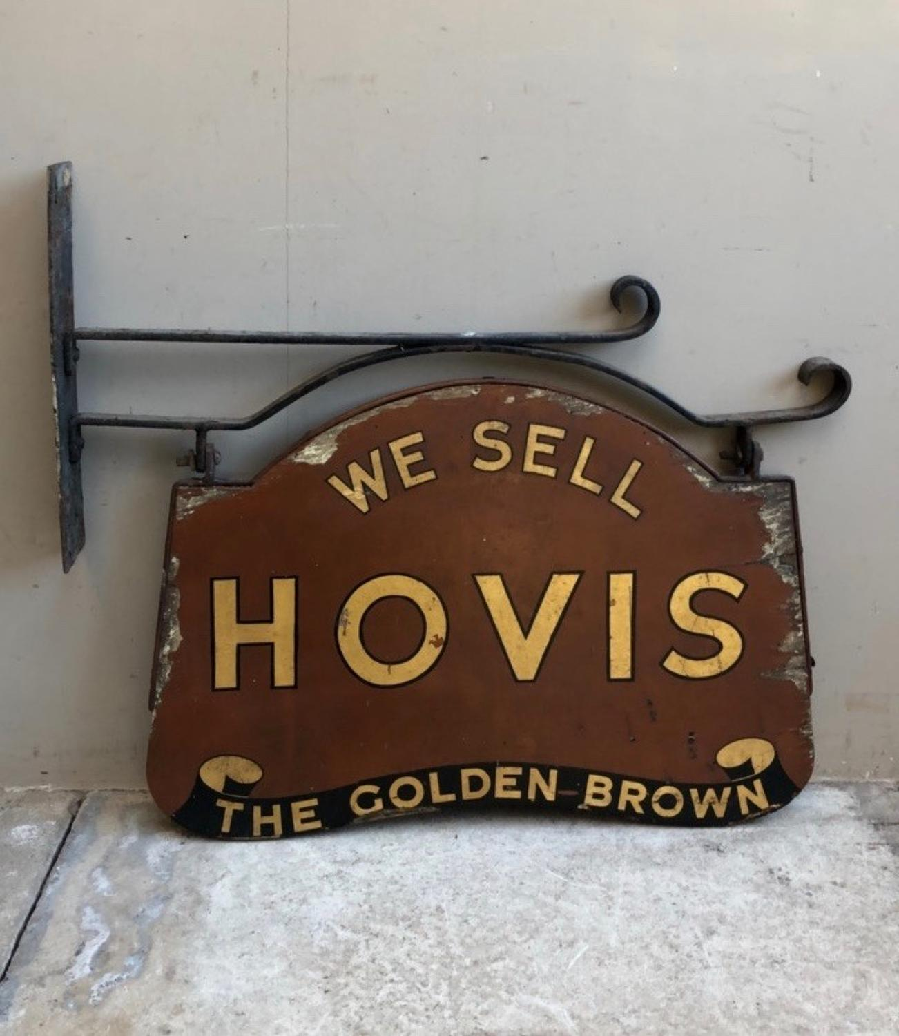 Early 20thC Shops Double Sided Painted Pine Hovis Sign