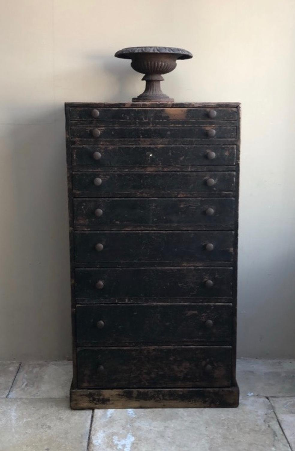 Victorian Pine Graduating Flight of Nine Drawers