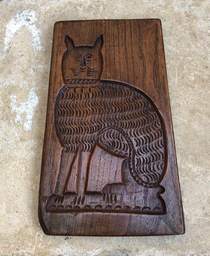 Large Georgian Elm Double Sided Gingerbread Mould - Dog & Cat