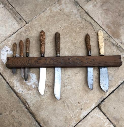 Antique Oak Wall Hung Knife Rack