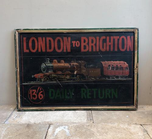 Rare Hand Painted Pine Railway Advertising Sign .c1915