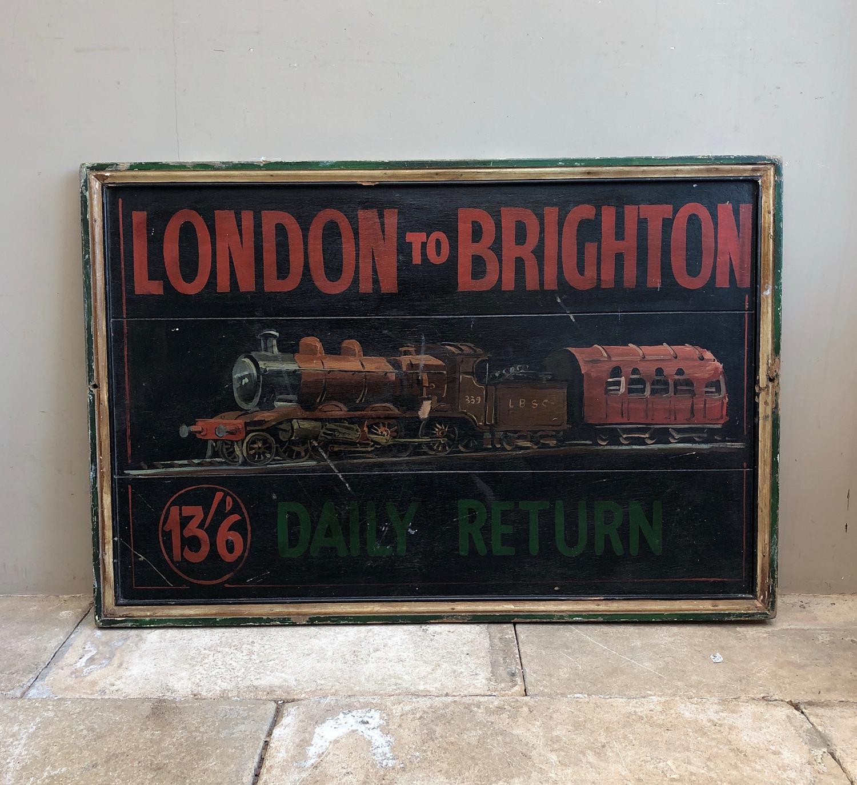Rare Hand Painted Pine Railway Advertising Sign .c1915