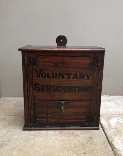 Edwardian Pine Voluntary Subscriptions Box - Original Paint