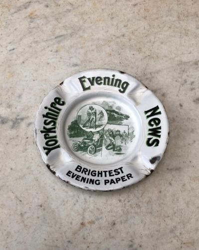 Early 20th Century Enamel Advertising Ashtray - Yorkshire Evening News