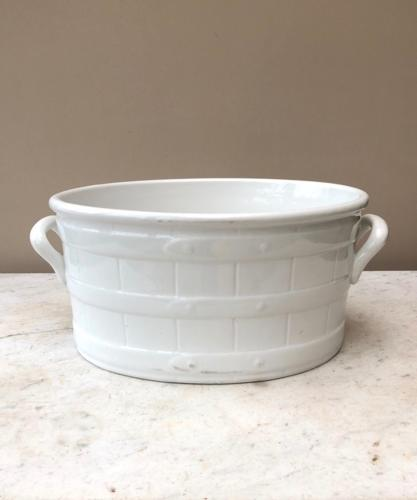 Superb Condition Edwardian White Ironstone Strap Banded Footbath