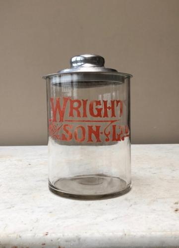 Edwardian Shops Glass Adverting Jar - Wright & Sons Biscuits