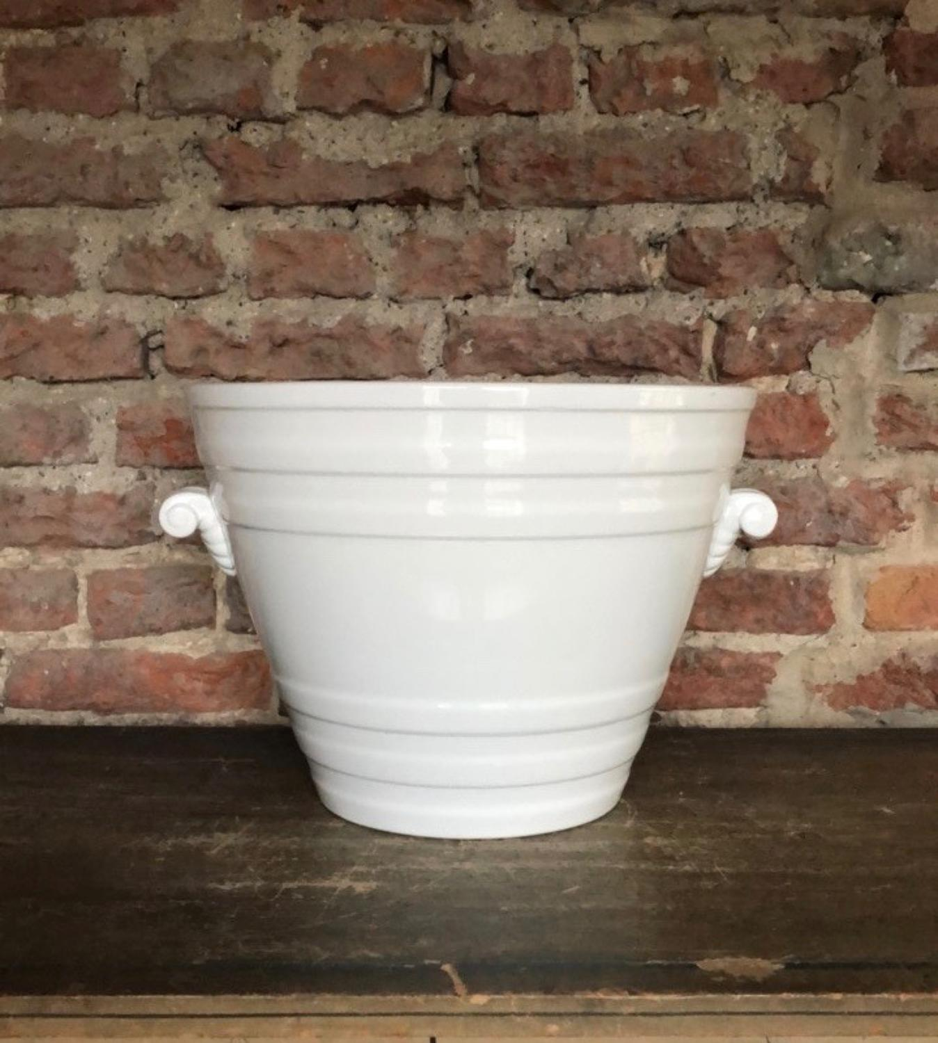Superb Condition - Victorian White Ironstone Banded Milk Pail - Minton