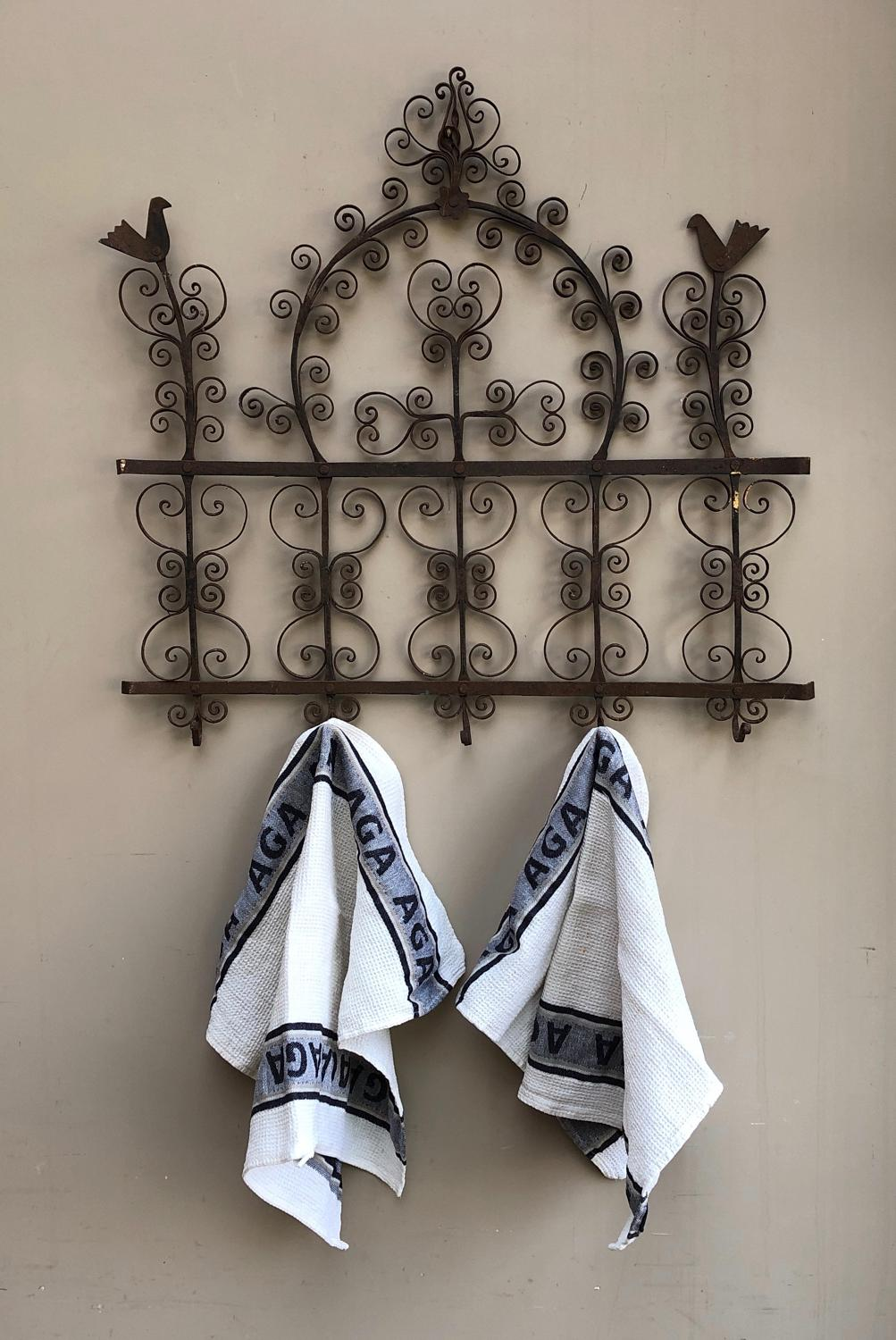 C.1920s Hand Forged Iron Towel or Utensil Rack