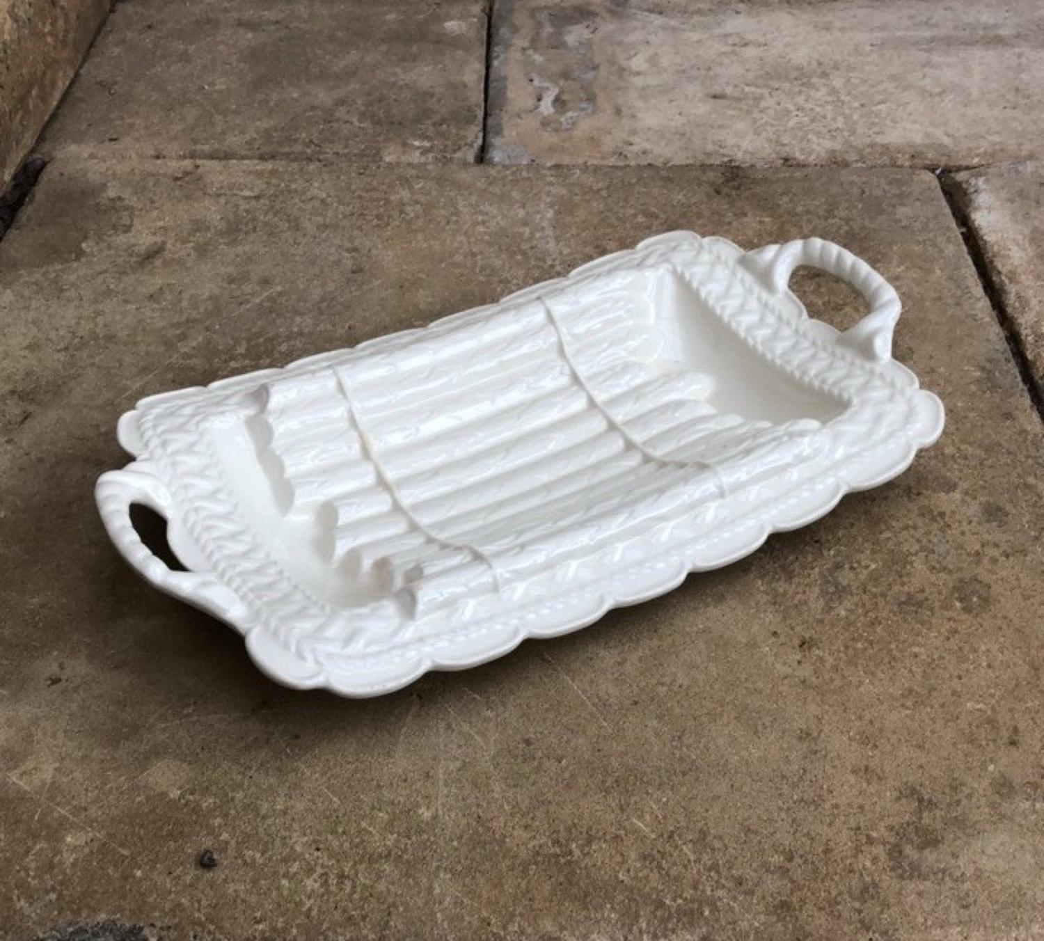White Asparagus Serving Dish c.1940