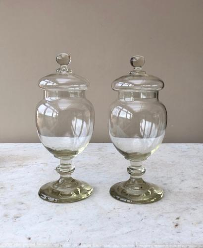 Pair of Victorian Shops Glass Display Sweet Jars Wonderful Condition
