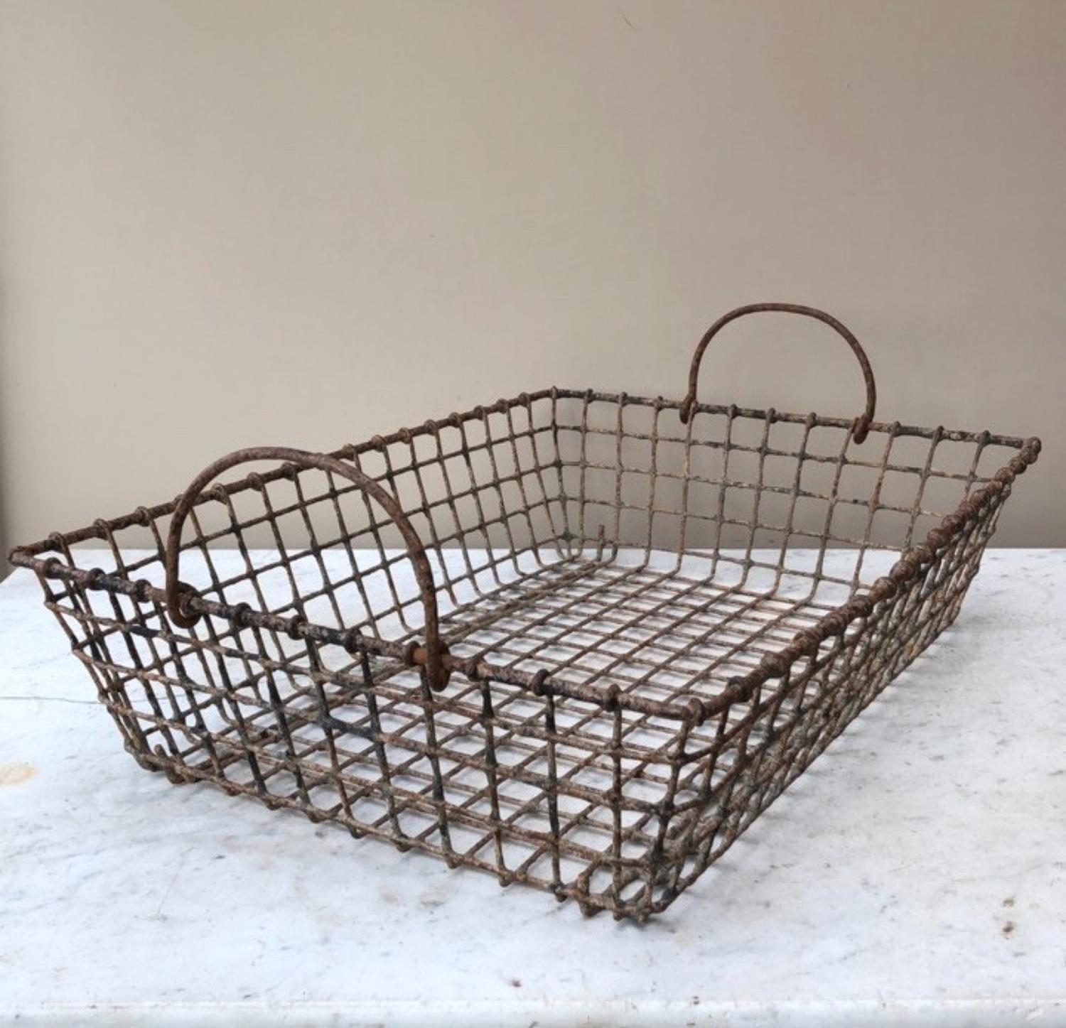 Large Antique Oyster Basket with Side Carrying Handles