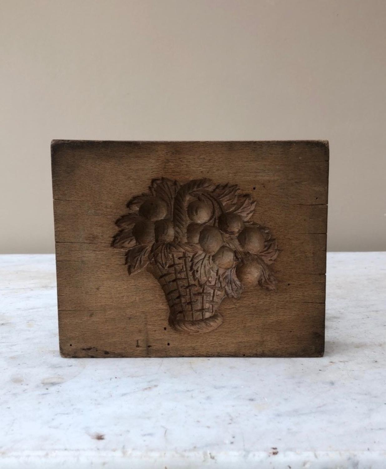 Early Victorian Treen Candy Mould - Flowers in Basket