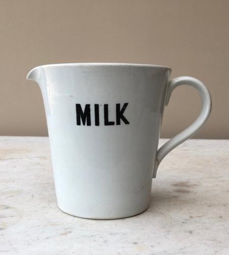 Rare White Ironstone Milk Jug - Quart or 2 Pints