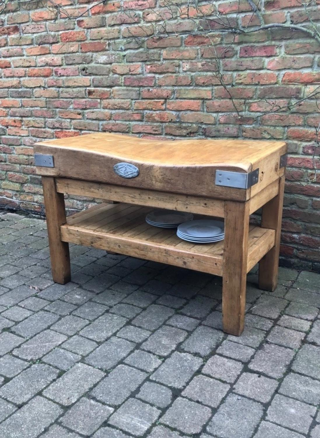 Antique Butchers Block 4' x 2' on Lovely Base with Pot Shelf