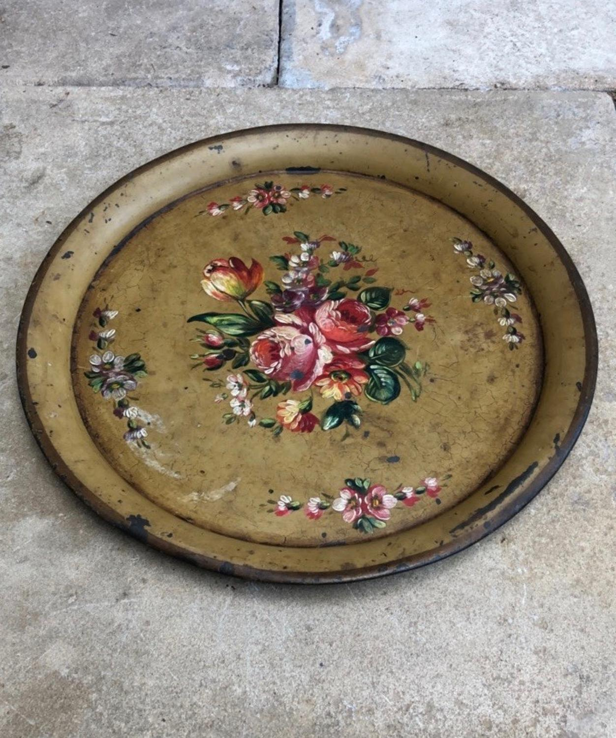 1930s Toleware Floral Tray